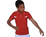 Droc Bobcat Red and Splash White Polo