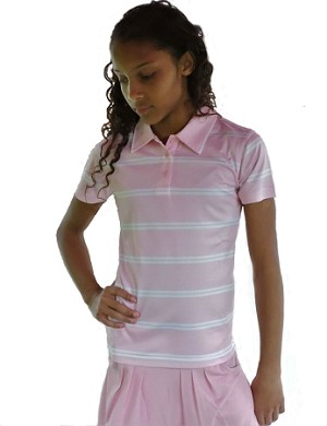 Sephlin - Lady E Women s Pink and White Stripe Polo f9d7ac2441