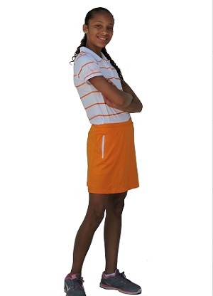 Sephlin - Lady E Women Dri-Fit Orange and White Stripe Polo Shirt