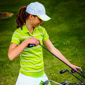 Sephlin Women's Lime and White Stripe Polo