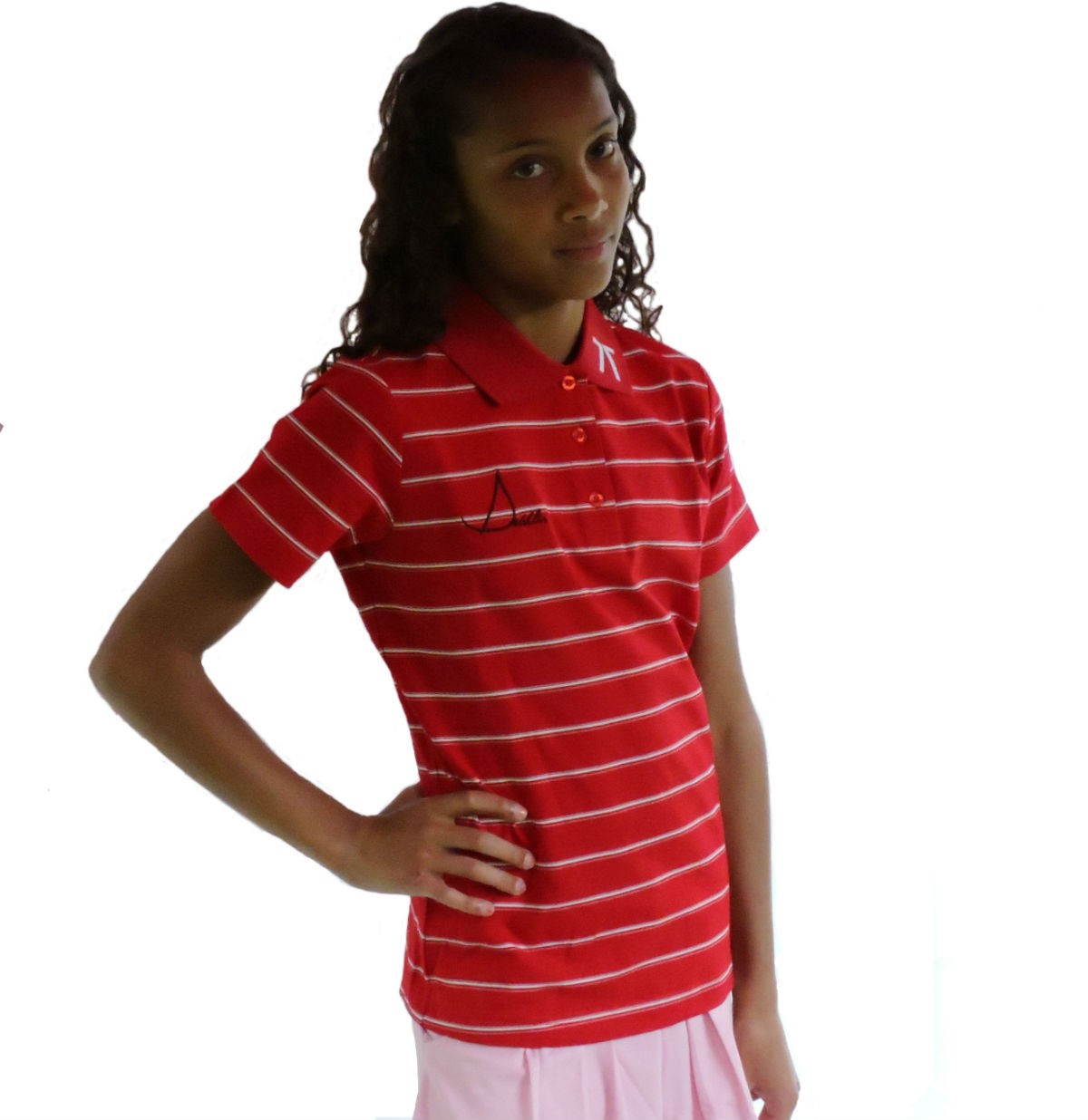 Sephlin - Jayde Red and Black Striped Polo