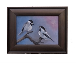 Chickadee Pair ( Love Birds ) Original Oil Painting 5in X 7in