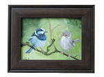 Original Oil Painting ( Fairy Wren Mates ) Frame Included