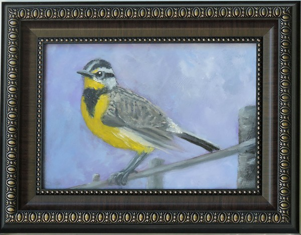 Meadowlark Oil Painting (Frame included)